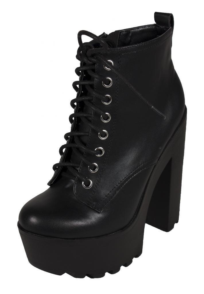 88c99bdca GRU! Women's Military Platform Chunky Heel Ankle Boots - lustacious ...