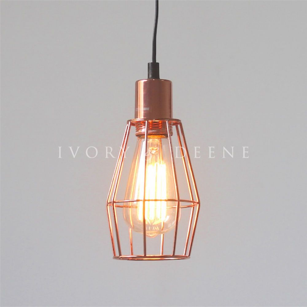 COPPER PENDANT LIGHT Industrial Wire Cage Cafe Bar Loft Home+ ...