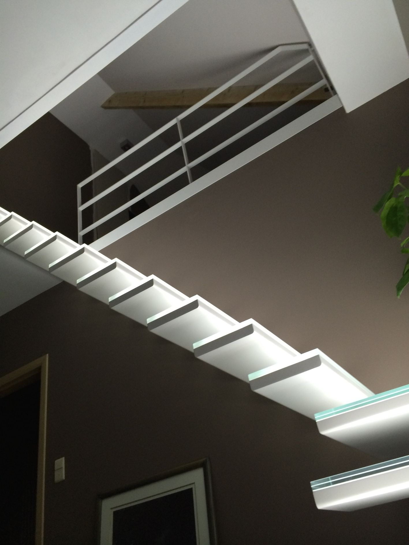 Glass Staircase With Build In Led Lights