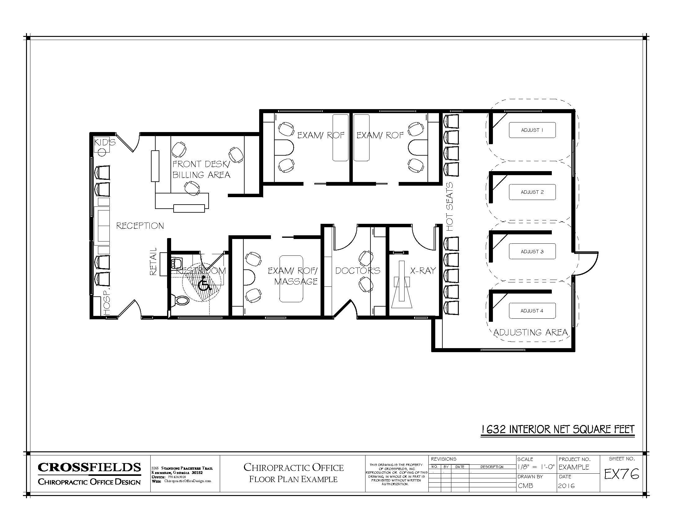 Example floor plan with semi open adjusting massage exam report of findings x
