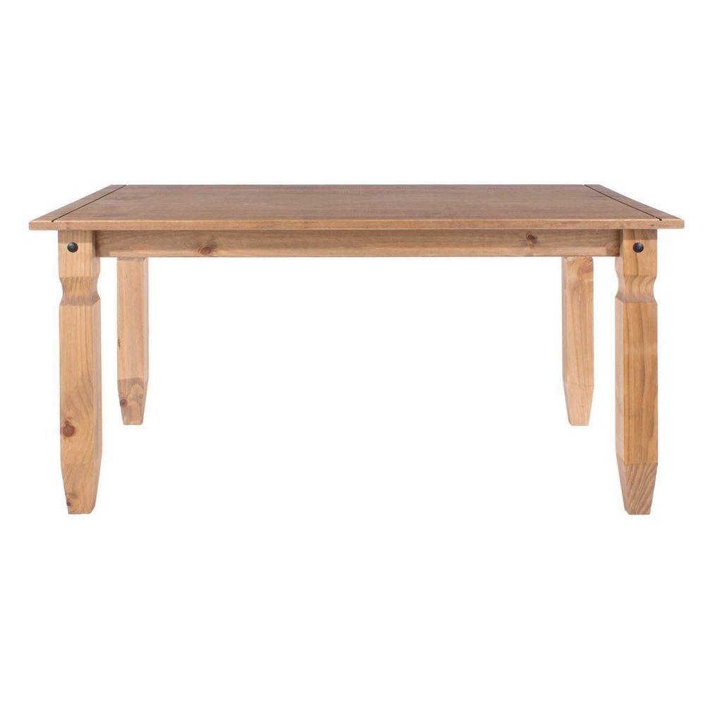 4 Seater Dining Table Rectangular Top Pine Wood Natural Finish