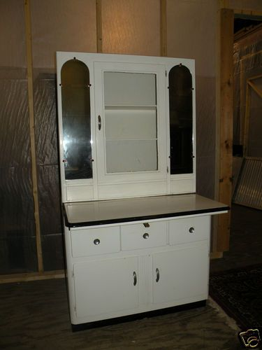 Free SHIP Antique White Kitchenette Hoosier Kitchen ...