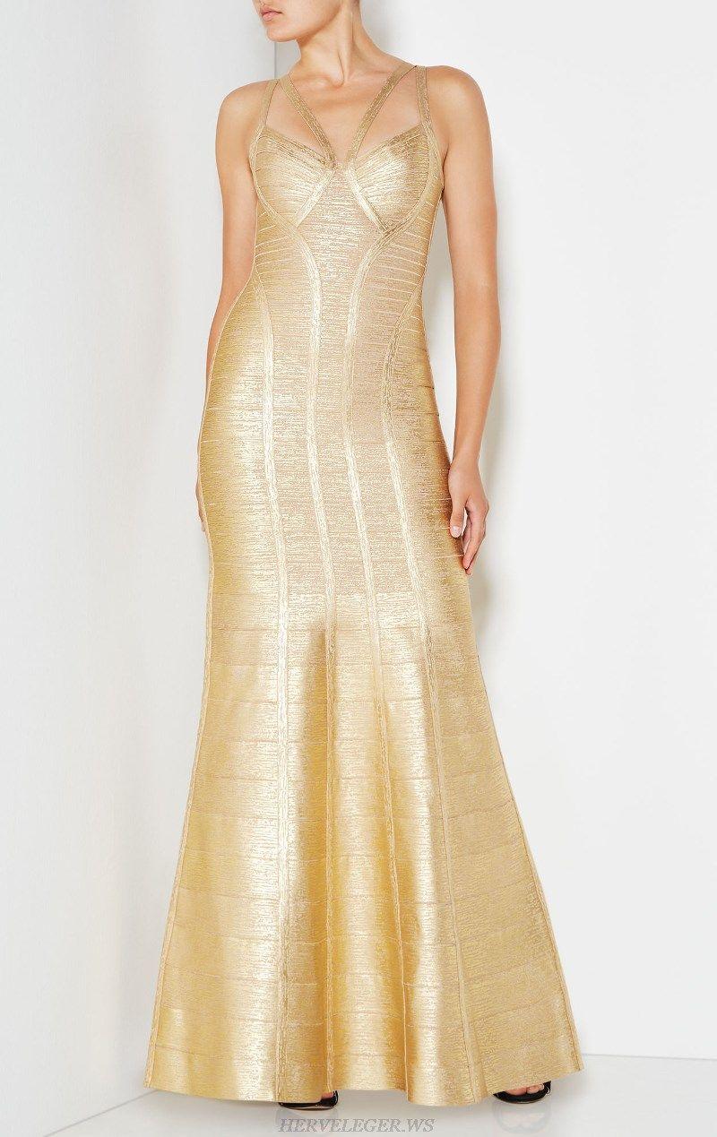 Herve leger gold a line woodgrain foil print gown formal wear