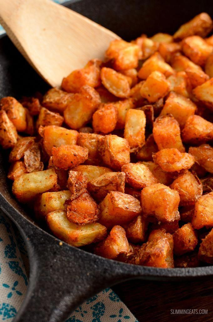 Syn Free Seasoned Crispy Home Fries - the ultimate breakfast side made healthier by cooking in the o...