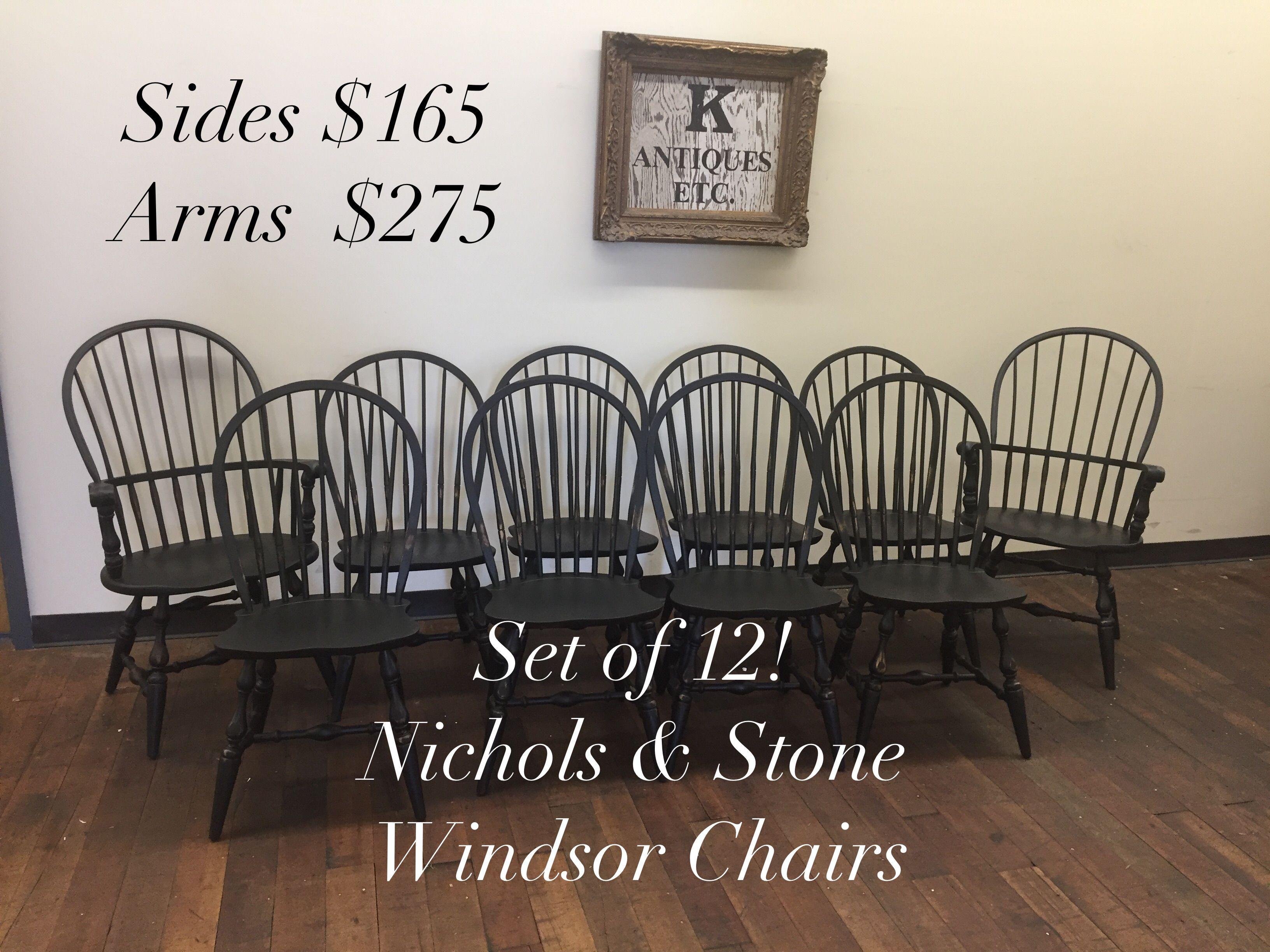Set of 12 Nichols and Stone restored black Windsor Chairs