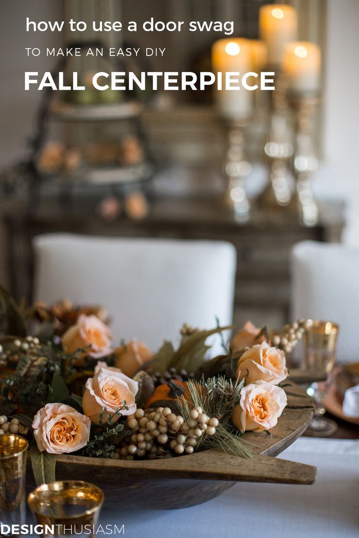 Using Fall Door Decorations to Dress Up Your Thanksgiving Table Swag Centerpiece | Fall door decorations, such as wreaths and swags, can be used to dress up your Thanksgiving table. Here are some ideas how. ----->
