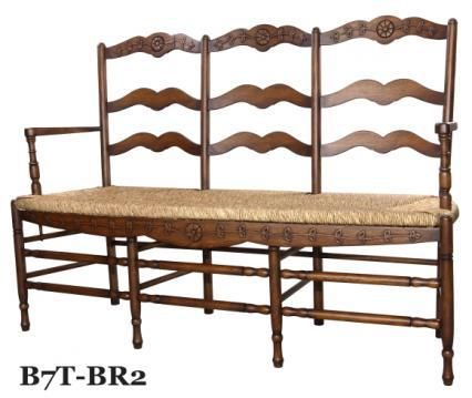 Three Seat Provence Ladderback Bench From The French Market