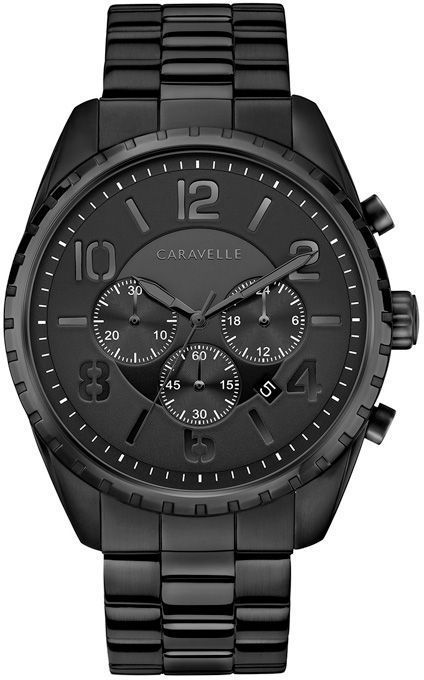 7c257c20e This men's Caravelle by Bulova watch features a black dial with three  chronograph sub-dials in a 44.0mm black ion-plated stainless steel case.
