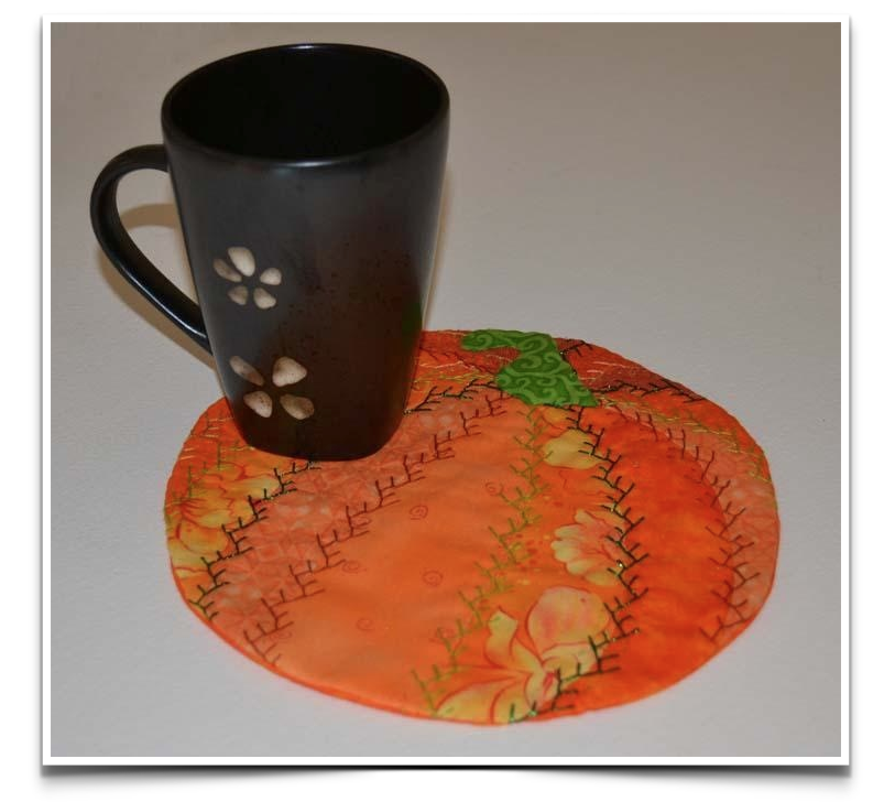 Pumpkin Mug Rug Quilt Pattern Pieced//Applique CM