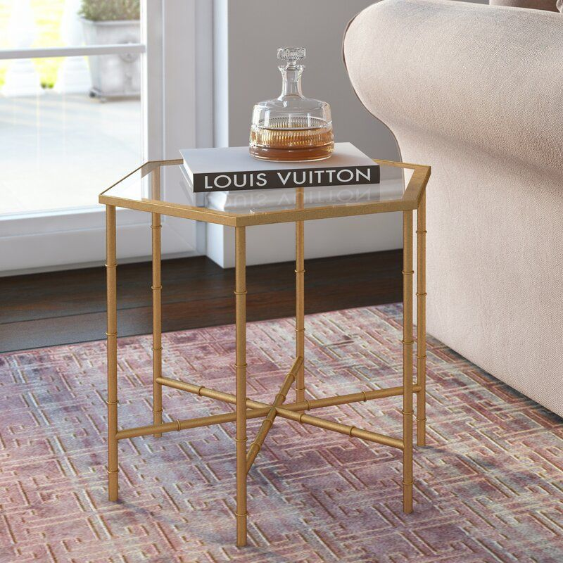 Rex Glass Top Cross Legs End Table In 2020 Living Room Side Table Gold Side Table Living Room End Tables