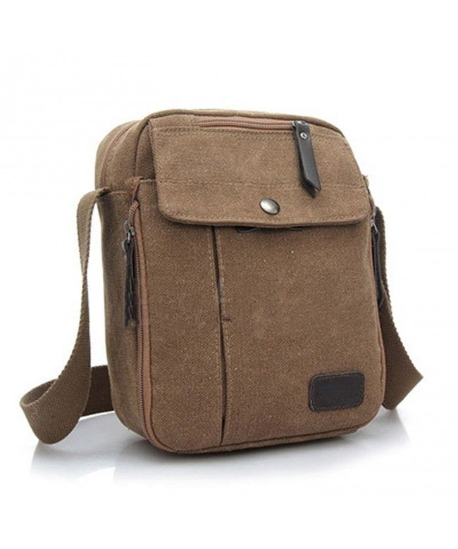 74521321efd5 Men s Vintage Canvas Leather Satchel School Military Chest Shoulder Bag -  Coffee - C71857GEAY6  Bags  handbags  gifts  Style  Shoulder Bags