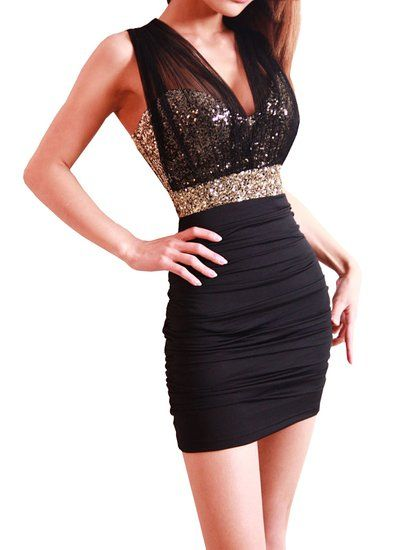 New Sexy Ladies BlacK and gold Sequin Empire Waist See-through Mesh  Sleeveless Party Dress c2b500a7f