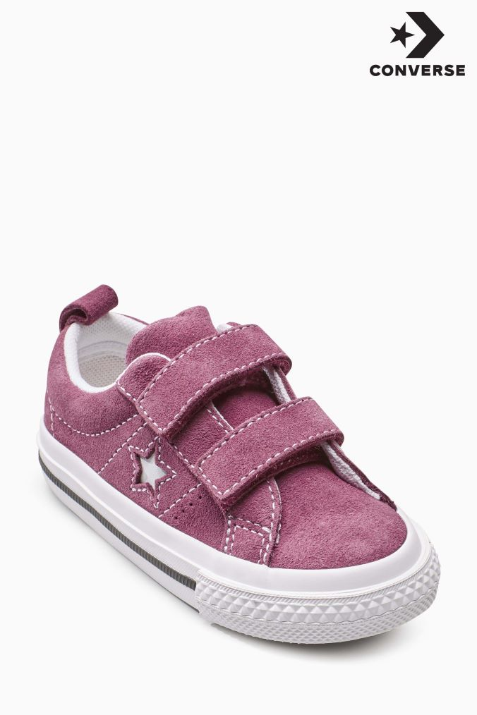 Girls Converse Red Suede One Star Velcro Red | One star
