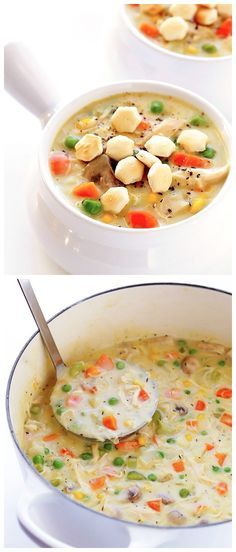 Chicken Pot Pie Soup Ingredients 4 Tablespoons butter or olive oil 1 medium onion, peeled and diced 2 medium carrots, peeled and diced 2 celery stalks, diced 4 cloves garlic, peeled and minced 4 ou…