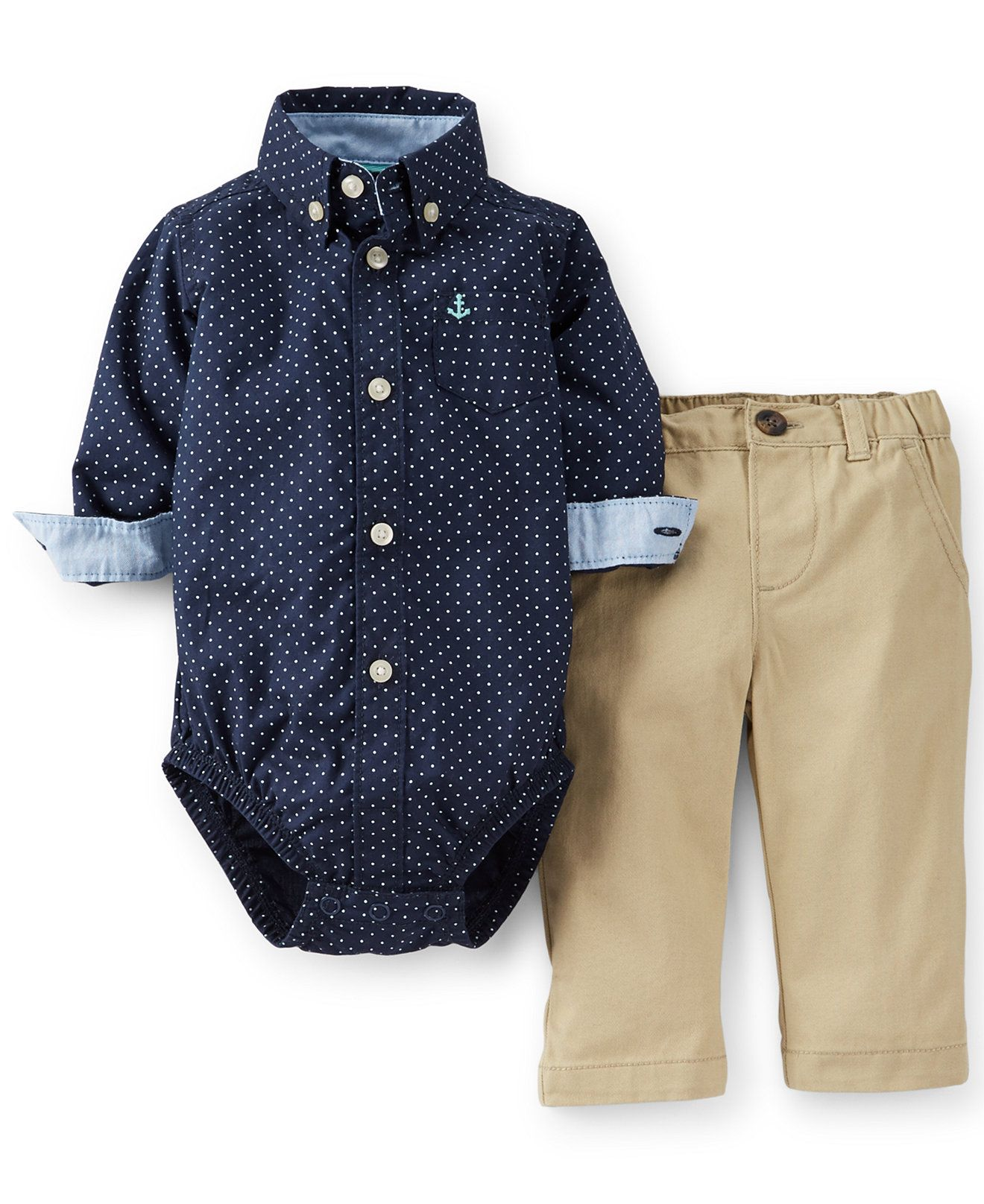 Carter Baby Boys Piece Bodysuit Khakis Set Kids