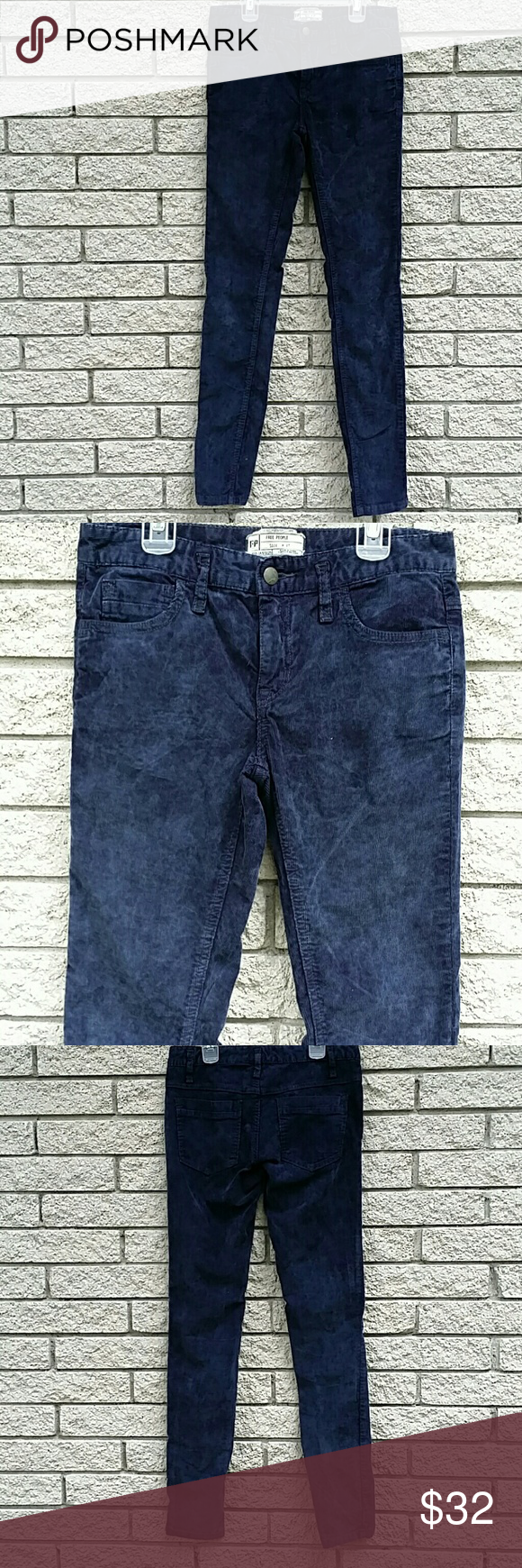 """FREE PEOPLE CORDUROY Pants  SIZE 27 Cotton and spandex  skinny fit  15.25"""" across the waist  8.25"""" waist to crotch  32"""" crotch to hem  washed vintage look Free People Pants Skinny"""
