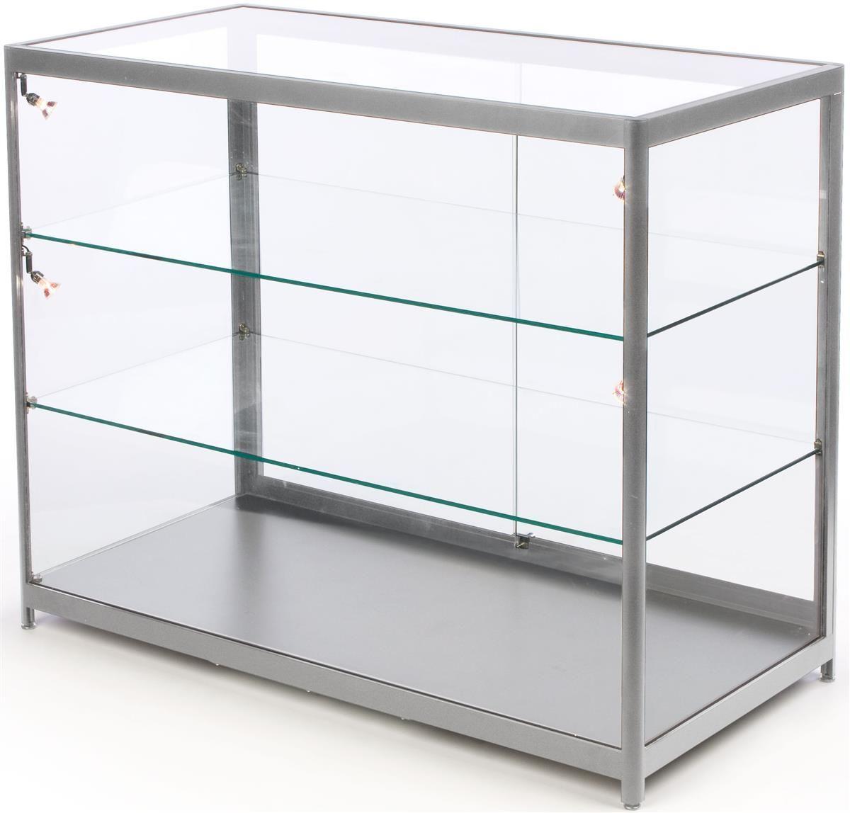 72 Retail Display Counter W 4 Led Lights Sliding Doors Ships Assembled Silver Adjustable Shelving Display Case Glass Display Case