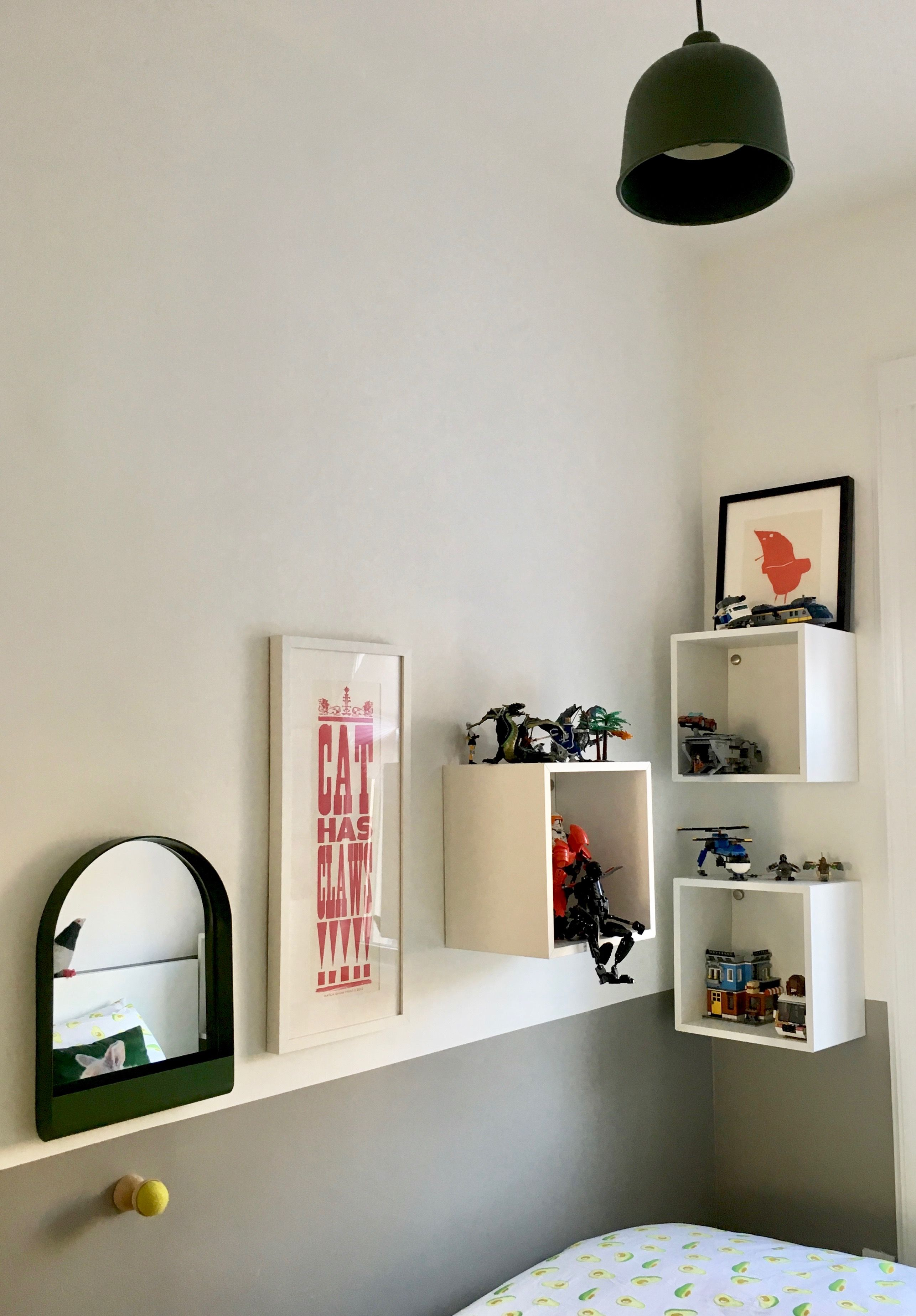 Little Boy S Room With Ikea Wall Mounted Cubbies Muuto Grain Pendant Light By Professional Organizer Laura Cattano Ikea Wall Boy S Room Floating Shelves