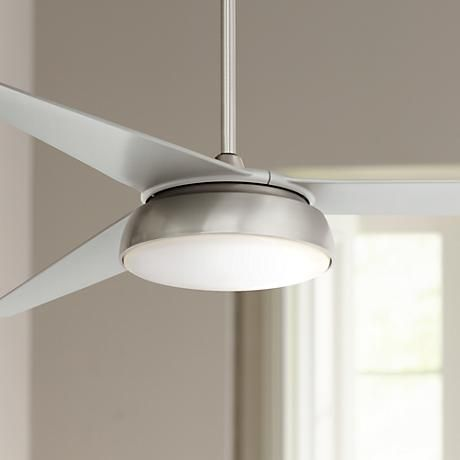 An energy efficient led downlight adds ambient light to this brushed steel finish ceiling fan