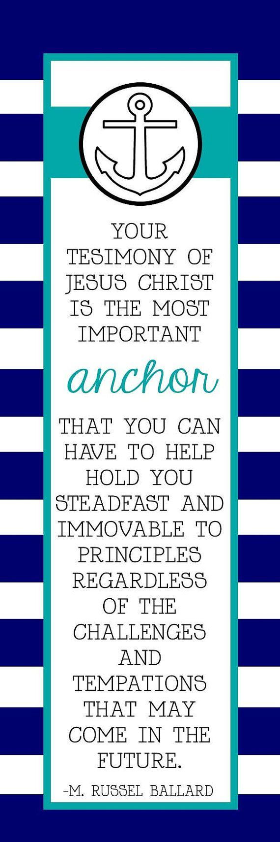 Come Follow Me (MAY) How can I strengthen my testimony? LDS Quote Anchor Bookmark by HayashiPhotography on Etsy #churchitems