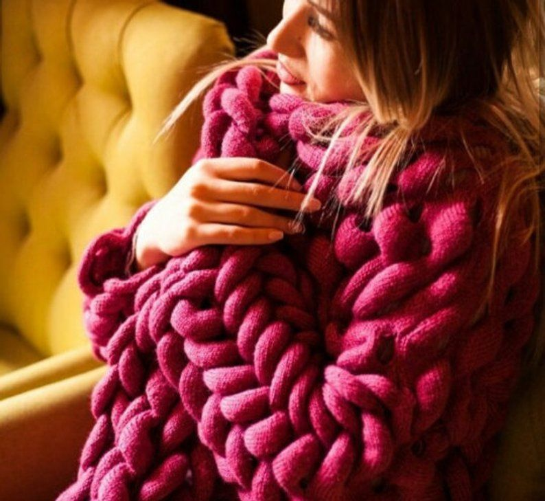 Oversized cardigan Woman wool coat Knitted sweater Fuchsia color Wool knitted kimono open cardigan Free delivery Plus size handmade coat