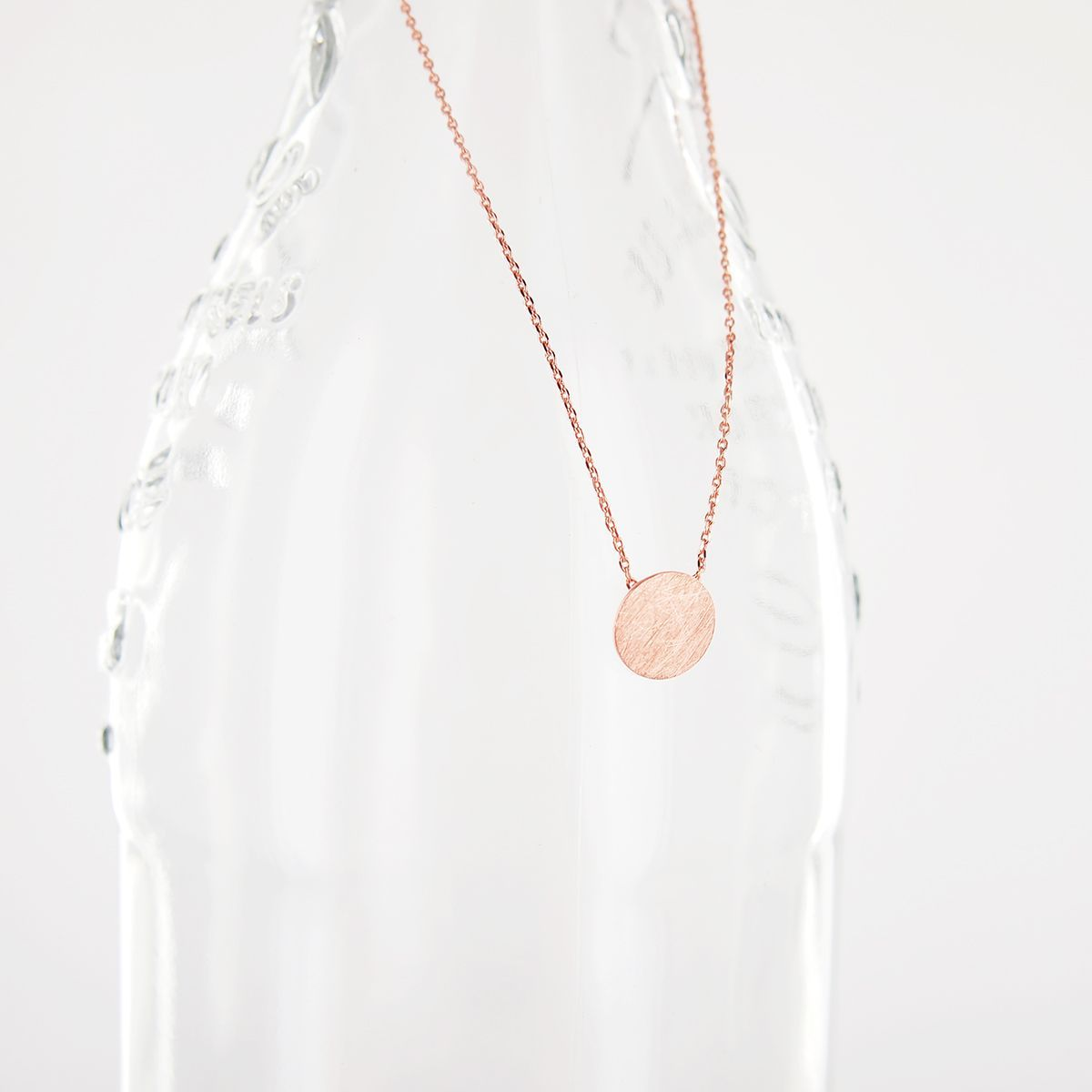 Simple Clean Circle Disc Necklace in Brushed Pink Rose Gold