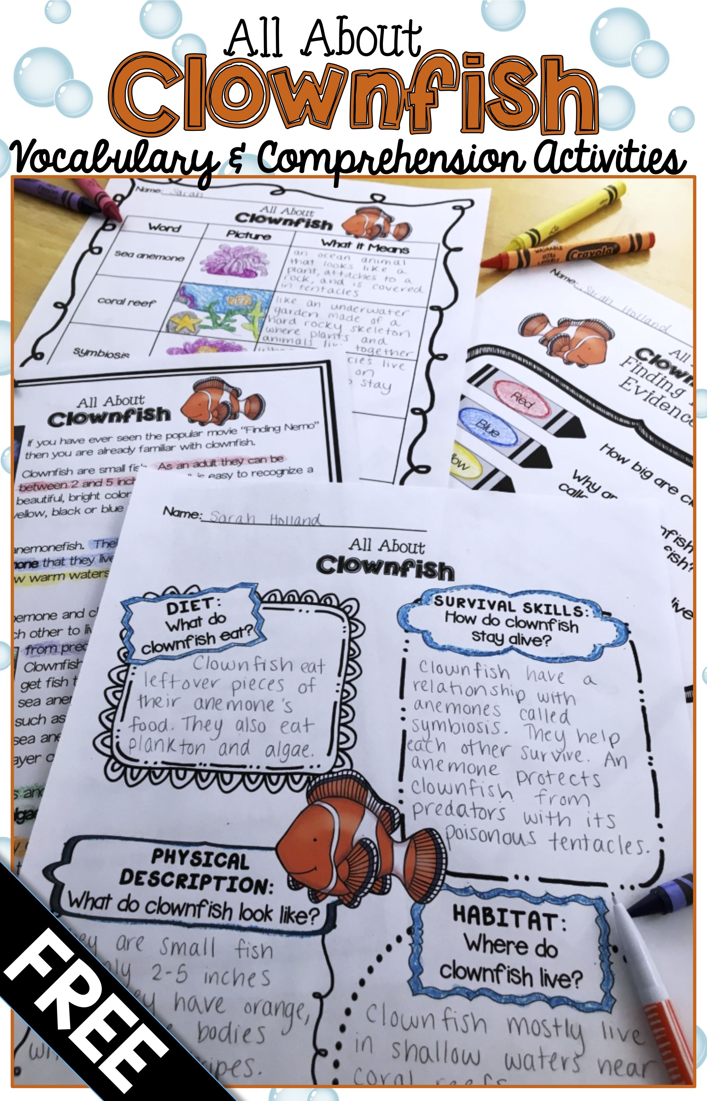 Ocean Animals Reading Freebie Clownfish Nonfiction