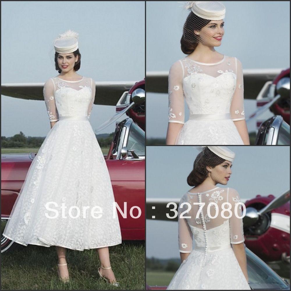 Hot sale white ivory lace mid calf tea length half sleeve wedding
