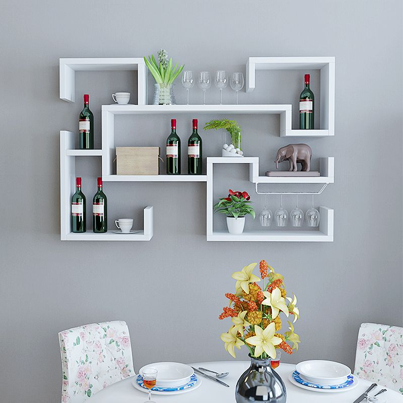 White Floating Wine Rack Furniture, Wine Rack Ideas Living Room