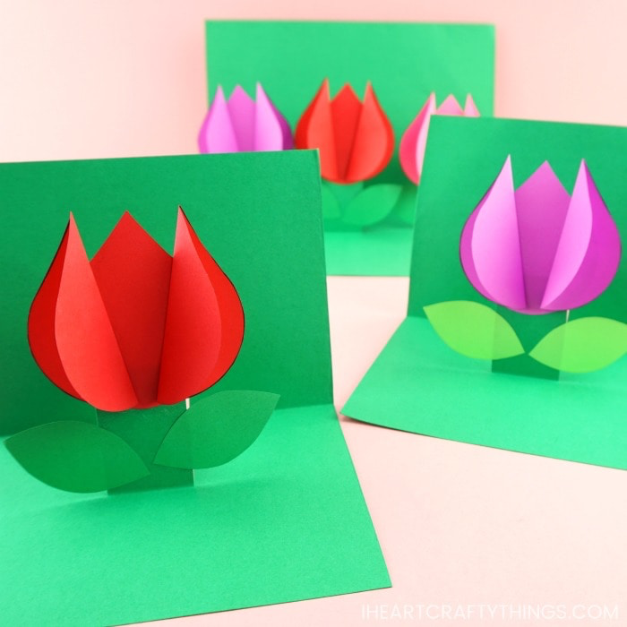 how to make a pop up flower card  easy spring tulip craft