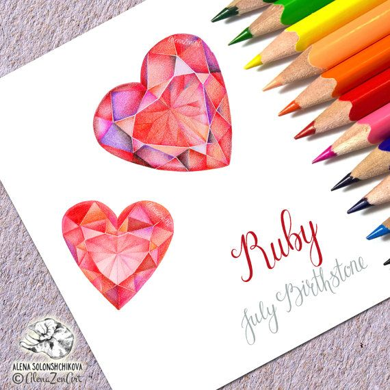 July Birthstone Print Art Ruby Heart Gemstone Printable Colored Pencil Calligraphy Typography Wall Decor Instant