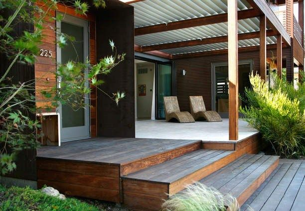 Prefab Porches ipe deck front porch modern prefab home corrugated metal