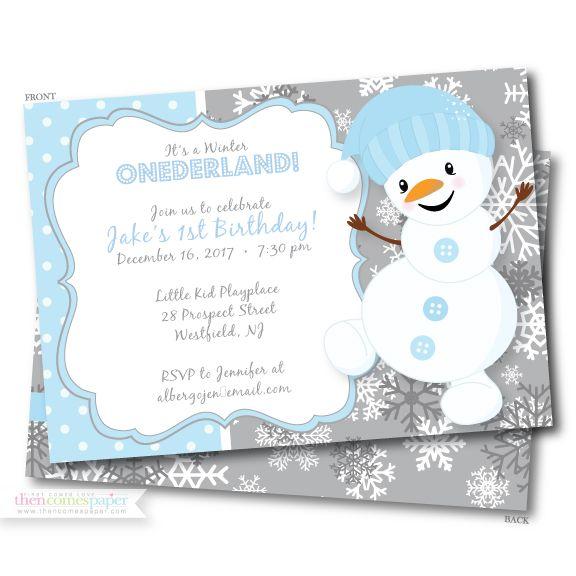 Winter ONEderland First Birthday Invitation Snowman Winter