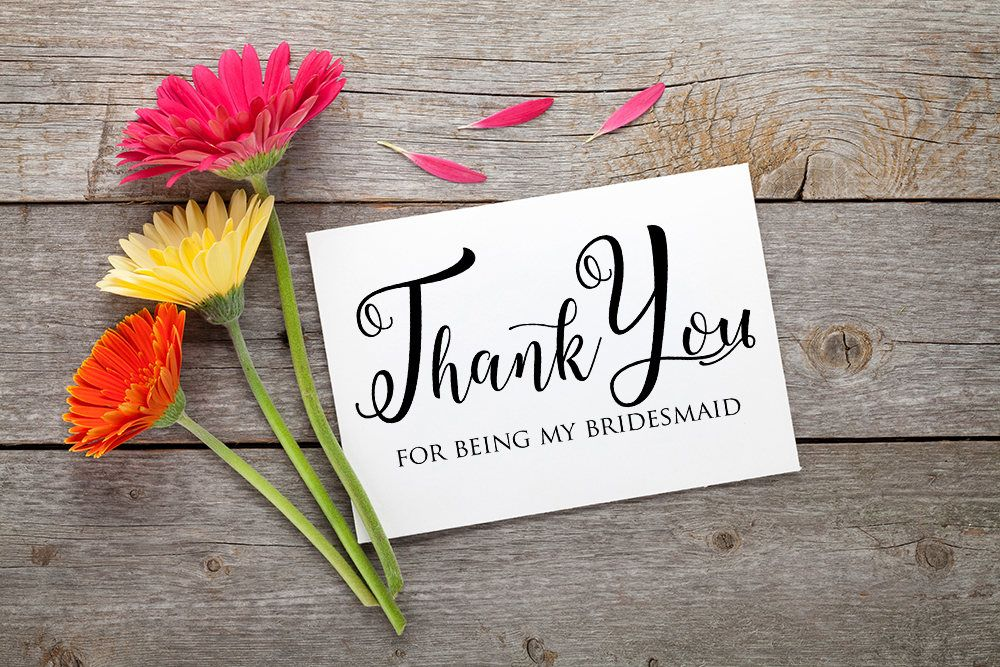 Bridesmaid Thank You Card Wedding Thank You Note Maid Of Honor