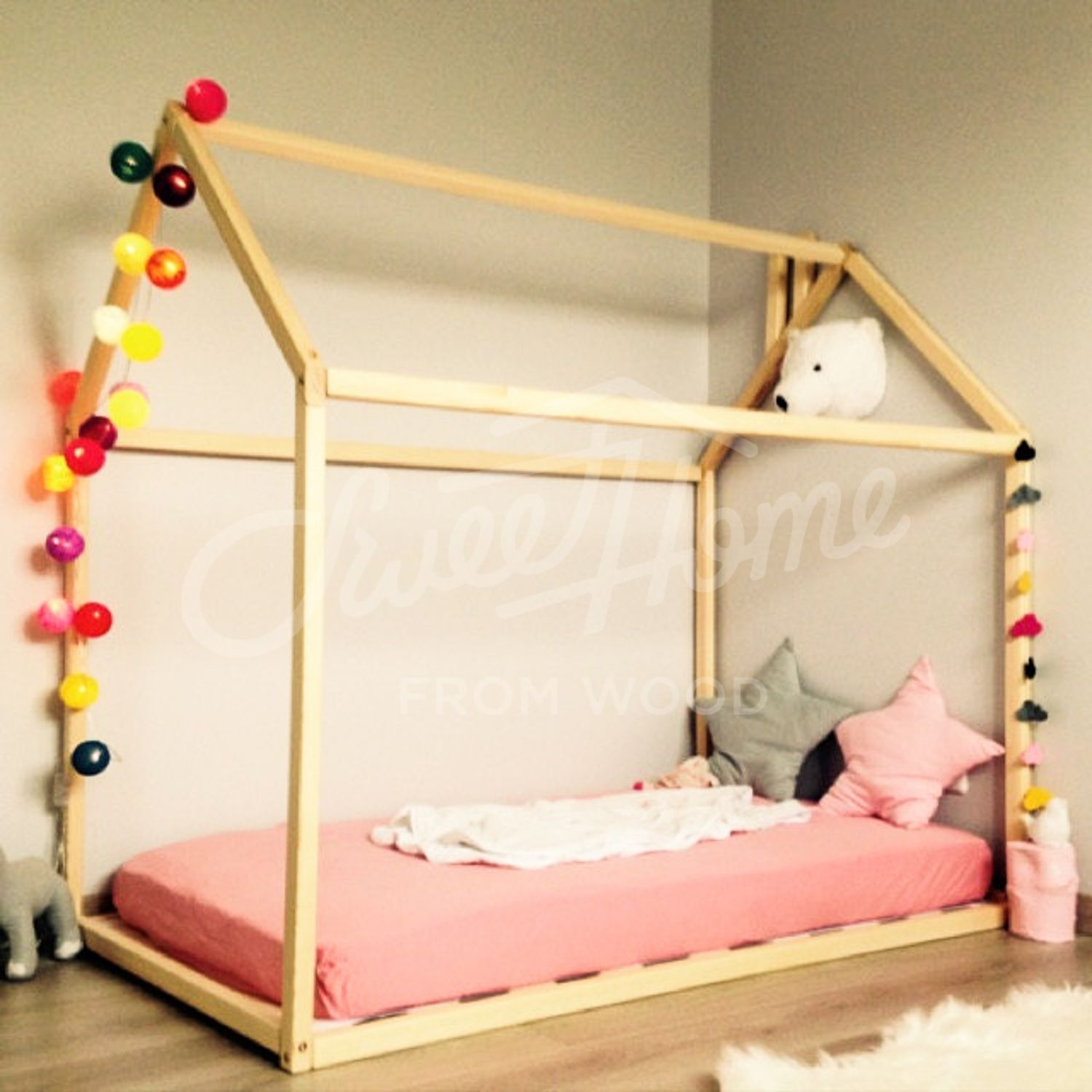 Toddler bed house bed tent bed children bed wooden house wood