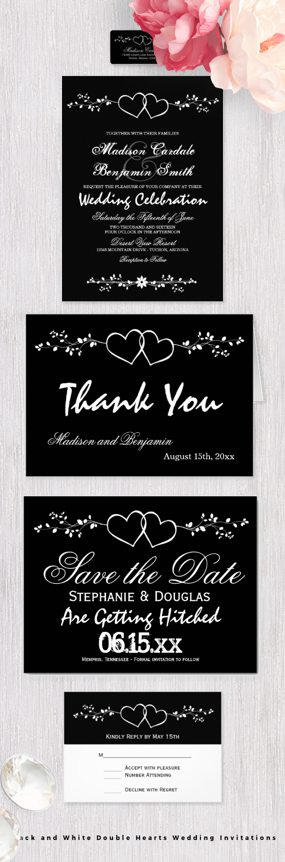 Black And White Double Hearts Wedding Invitations Featured Two