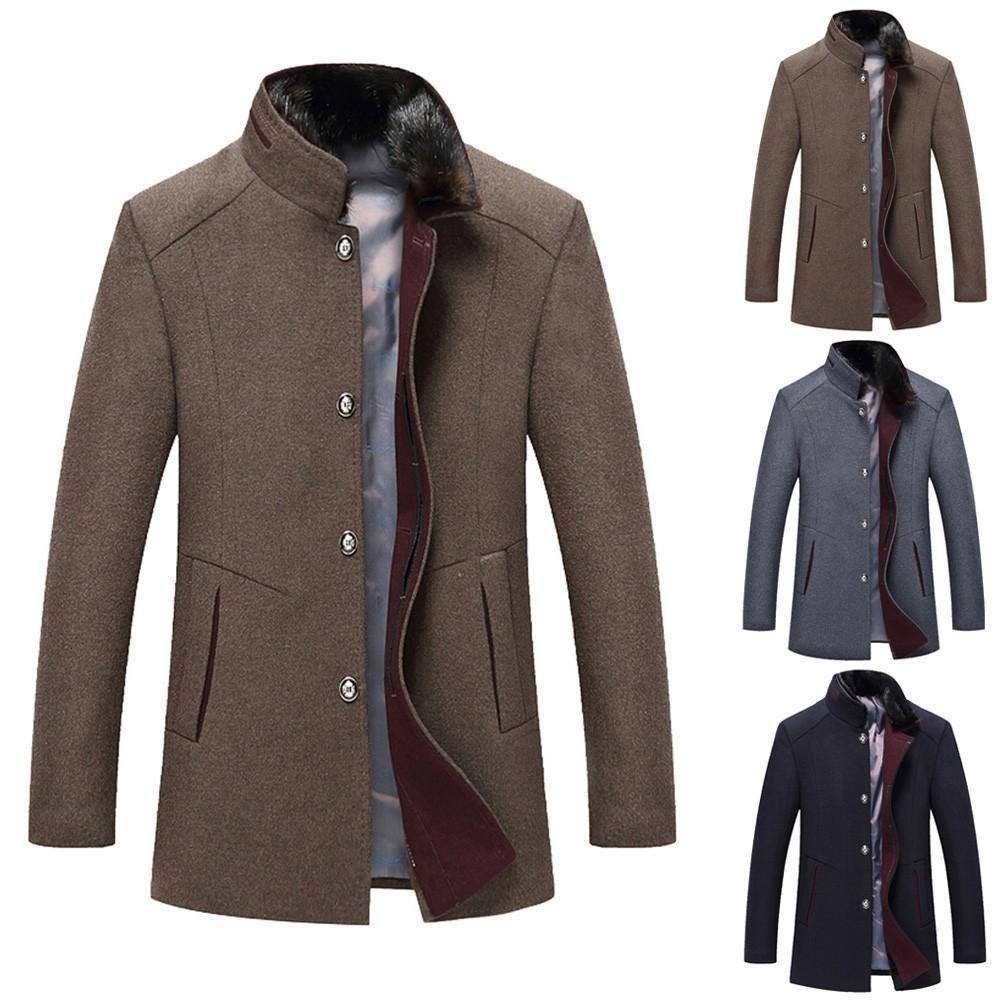 GloryA Mens Outwear Business Thick Woolen Blend Slim Fit Mid-Long Pea Coat