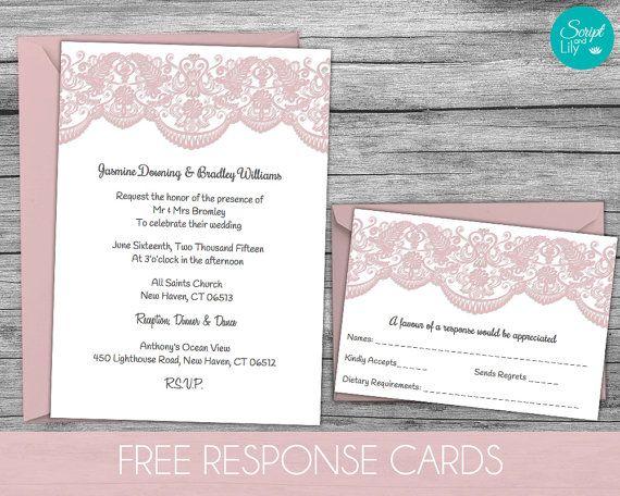 Lace Wedding Invitation Template FREE Response Card Template - pages invitation templates free