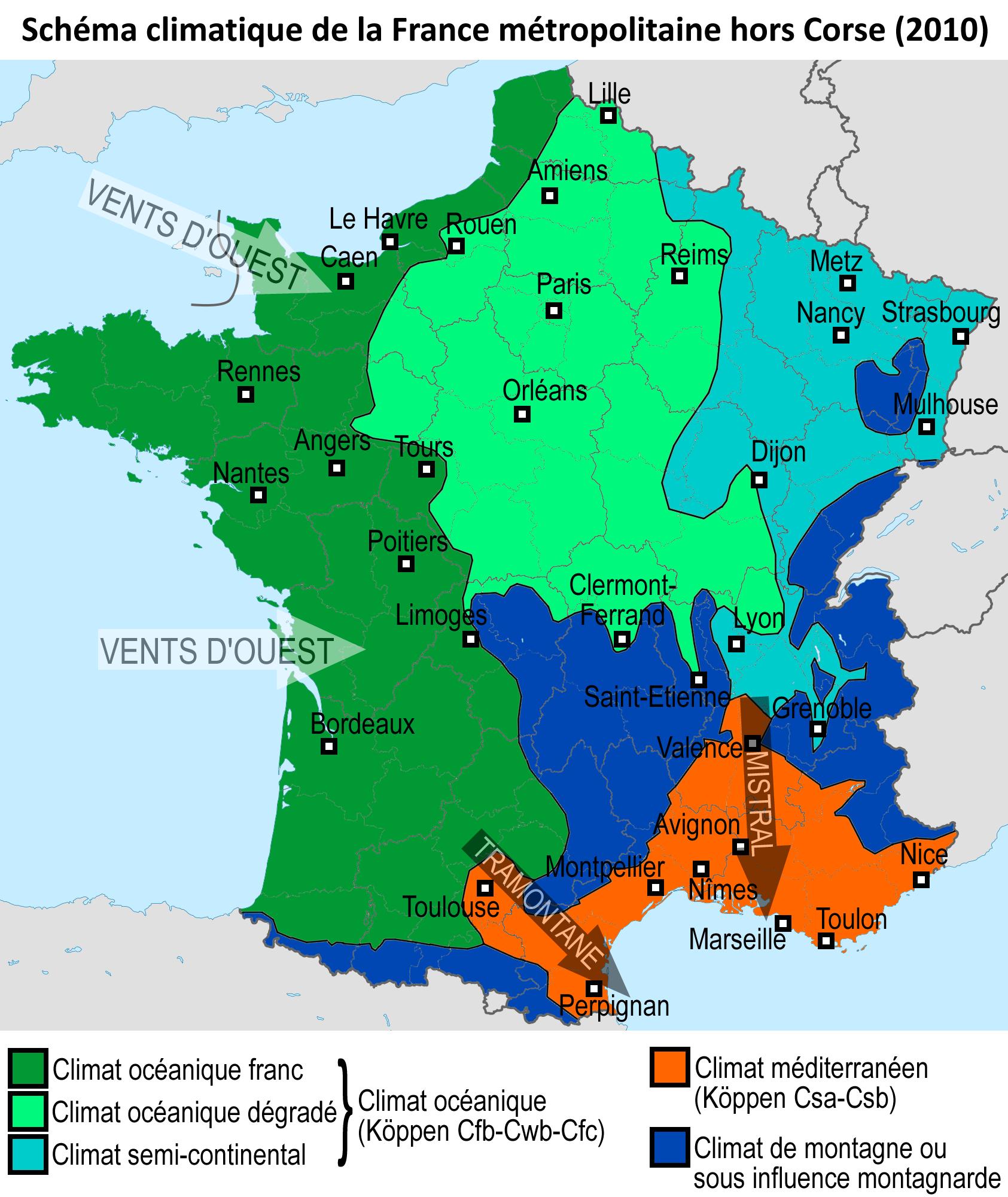 Metropolitan France's climate map France, Carte europe