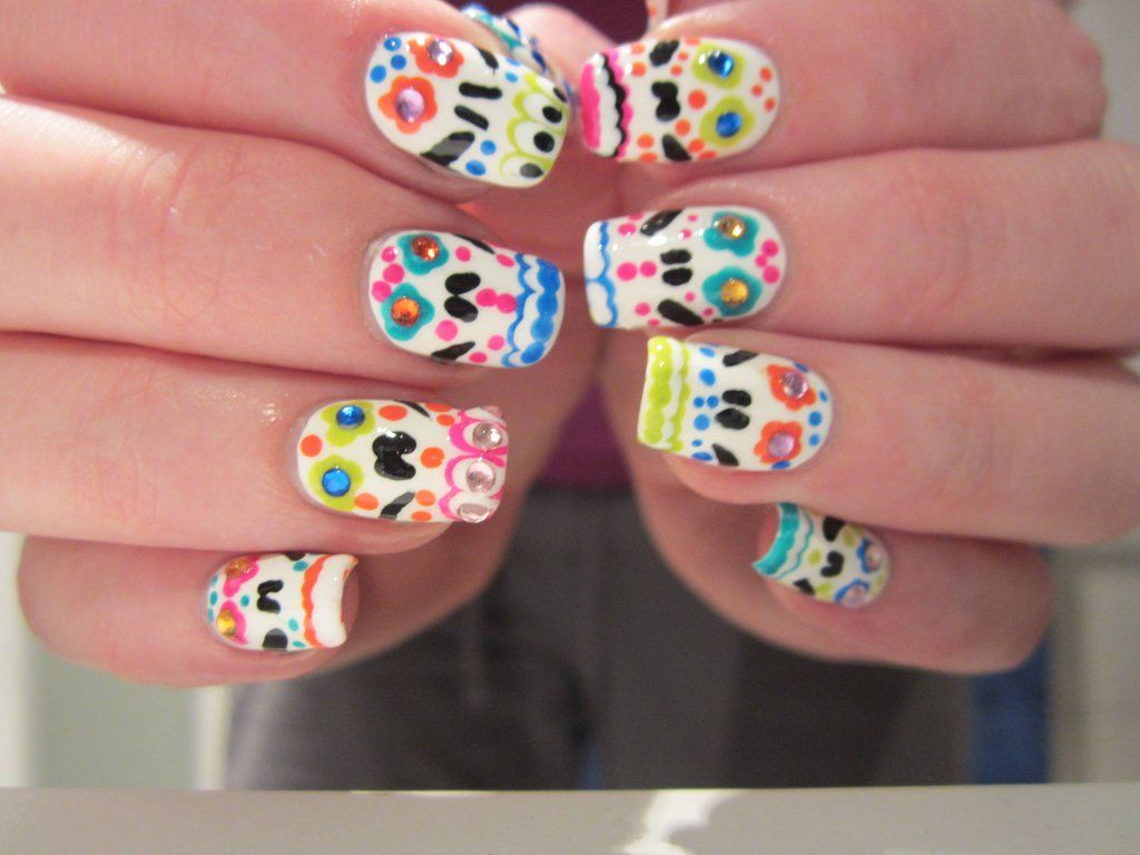 day of the dead nails | dead good things | Pinterest | Nail nail ...