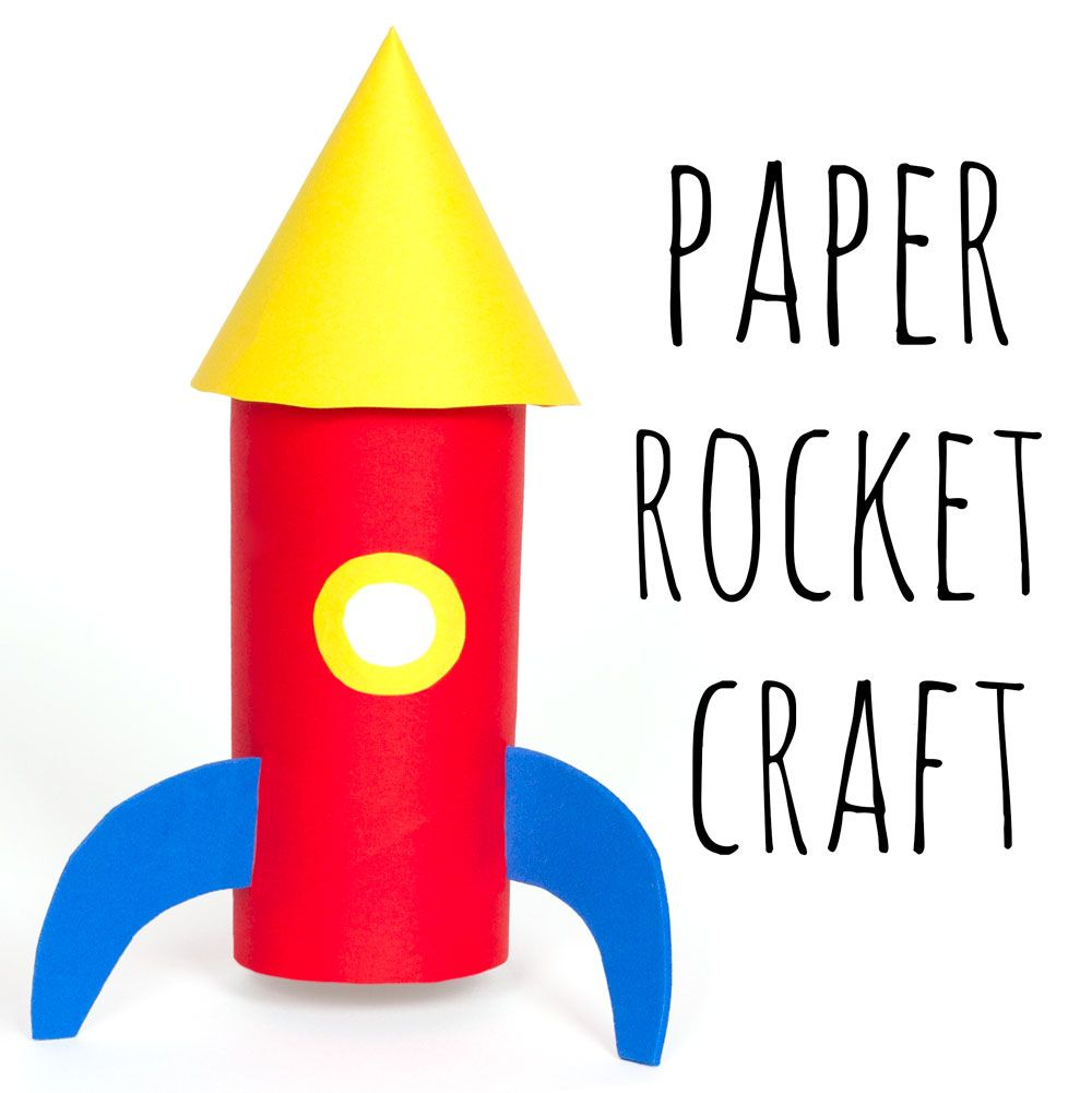 Paper rocket fun kids craft, colourful space craft ideas for children, simple and easy diy tutorials, toilet roll tube crafts, recycled crafts