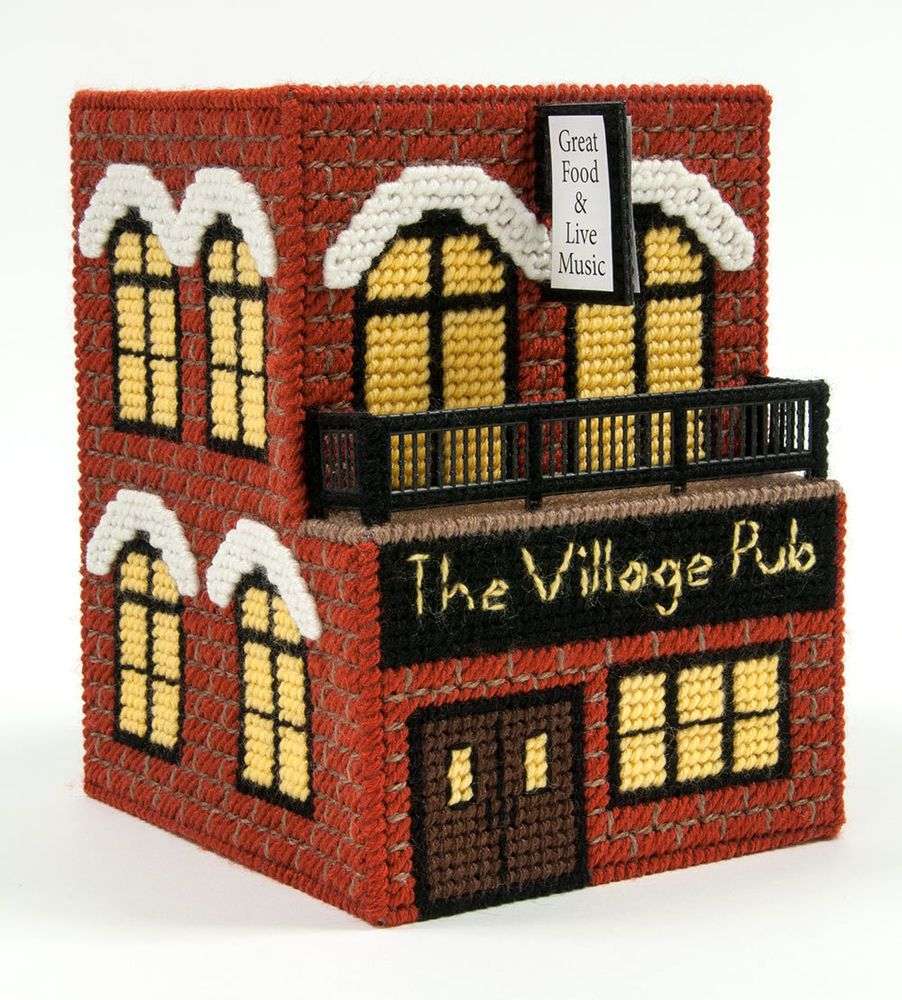 Mary Maxim Village Pub Plastic Canvas Kit   De plástico, Lona de ...