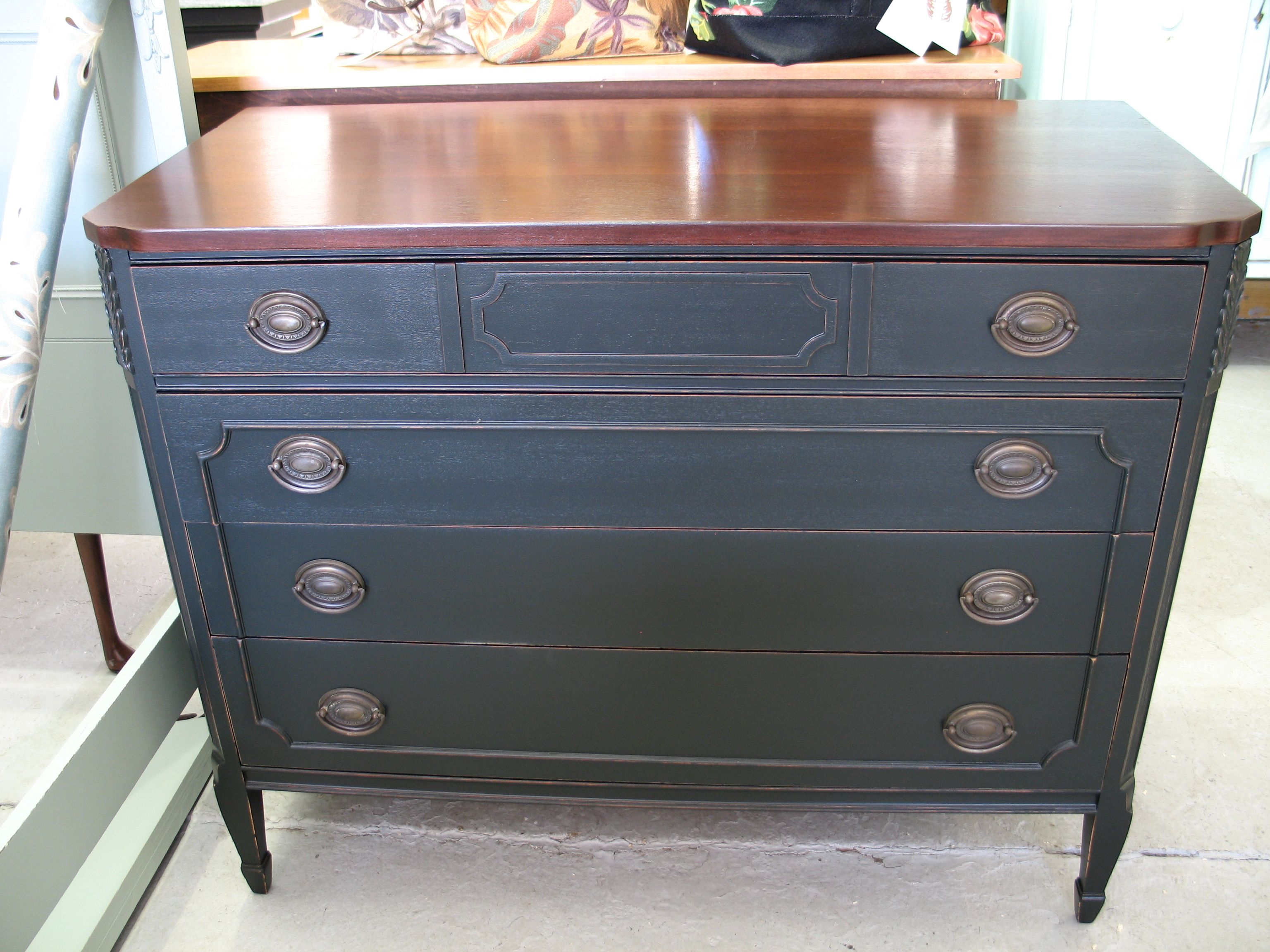 Painting furniture black distressed - Painted Dresser With Dark Finish And Pewter Finish Drawer Pulls And Fruitwood Finish Countertops
