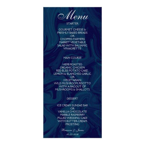 Dark Blue Marble Watercolor Wedding Menu  Marble Wedding Ideas