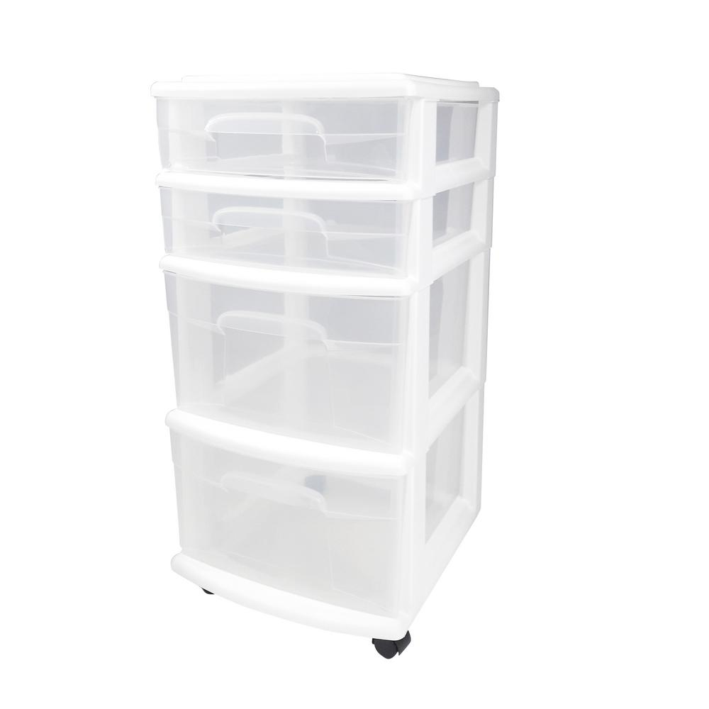 Homz 4 Drawer Medium Plastic Wheeled Cart In White 05564whec 01 The Home Depot Storage Cart Storage Drawers Rolling Storage