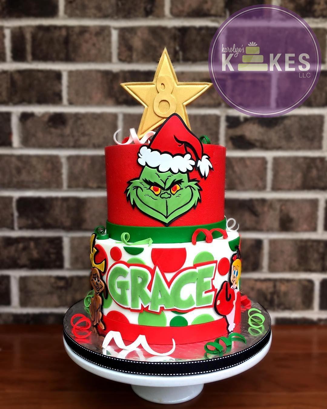 Grinch Cake Christmas birthday cake, Grinch cake, Grinch