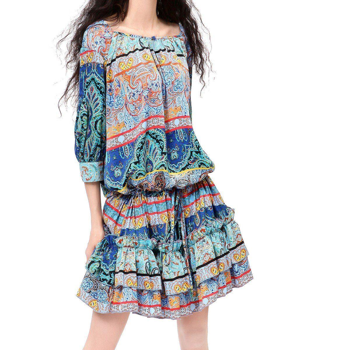 Artka Women's Spring Gathered Waistline Ethnic Pattern Dress,Blue,OneSize