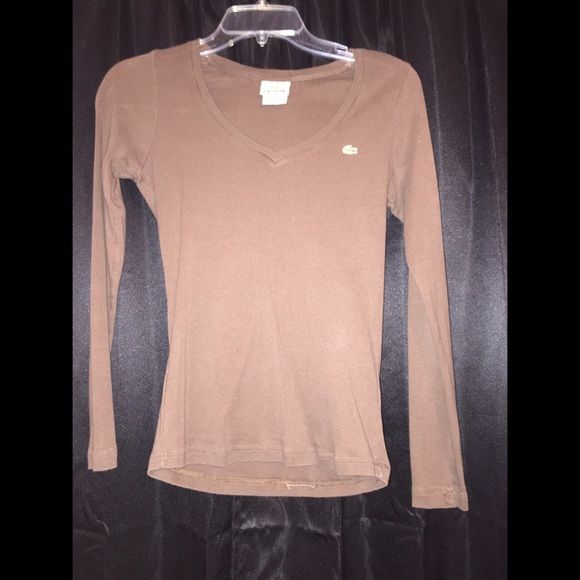 Cute and fitted brown Lacoste shirt Cute long sleeve fitted Lacoste Shirt Lacoste Tops Tees - Long Sleeve