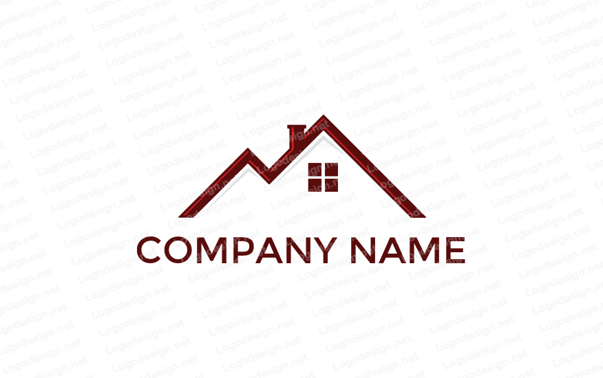 Letter m in shape of home roof Logo design template