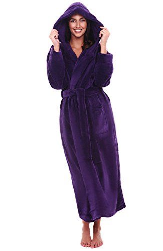1bbf050e5f Alexander Del Rossa Womens Fleece Robe Long Hooded Bathrobe   Want to know  more